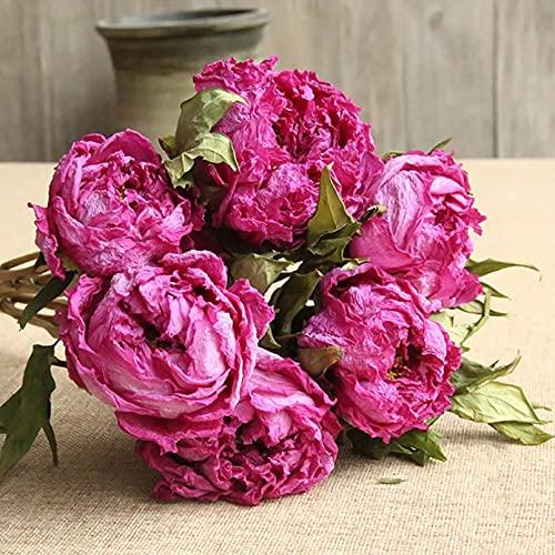 ZHQJY Flores secas de peonía Rosa roja DIY Flores secas a Mano Velas perfumadas Materiales decoración del jardín de la Sala de Estar del hogar