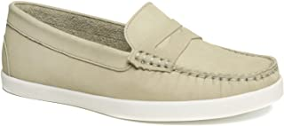 Driver Club USA Women's Leather Made in Brazil Penny Loafer Deck Shoe Boat, Grey Nubuck, 5.5 M US