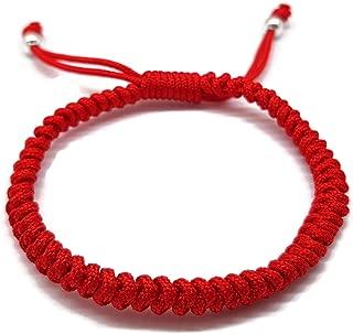 Mizze Jewelry /Étoile de David et main de Fatma en argent sterling/925 sur bracelet en fil rouge pour homme 20/cm