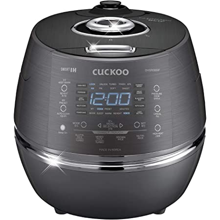 Cuckoo CRP-DHSR0609FD Multifunctional and Programmable Electric Induction Heating Pressure Rice Cooker, Fuzzy Logic and Intelligent Cooking Algorithm, 6 Cups Dark Grey