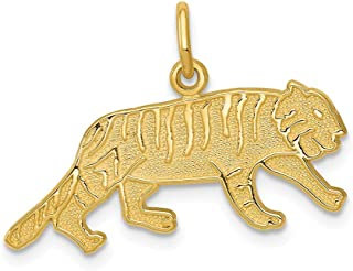 14k Yellow Gold Tiger Pendant Charm Necklace Animal Lion Man Fine Jewelry Gift For Dad Mens For Him