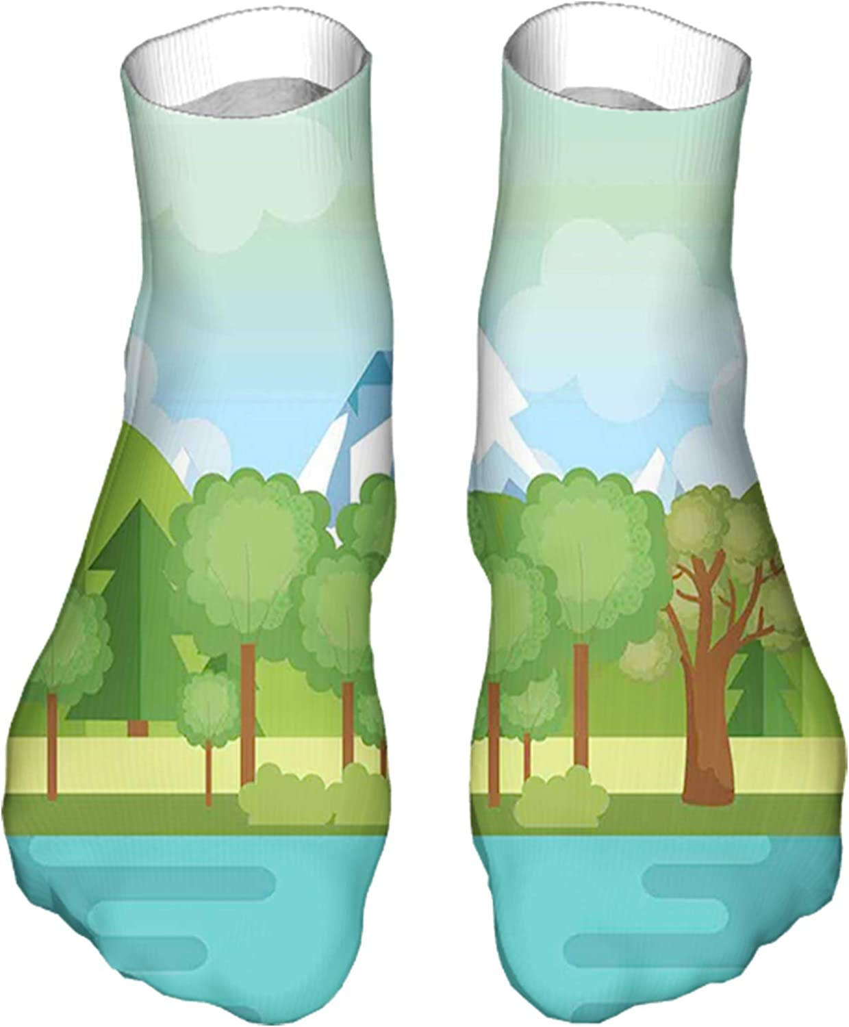 Men's and Women's Fun Socks Printed Cool Novelty Funny Socks,Landscape with Mountains and Lake Scene Illustration Design