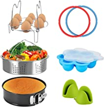 Pressure Cooker Accessories Set Steamer Basket, Egg Bites Mold, Egg Rack, Silicone Mini Oven Mitts, Springform Pan Fits for 6/8 Qt with 2 Pack Sealing Ring for 5 or 6 Quart IP Pot Models (8pcs)