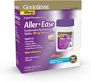 GoodSense Aller-Ease Fexofenadine Hydrochloride Tablets, 180 mg, 30 Count Allergy Pills for Allergy Relief