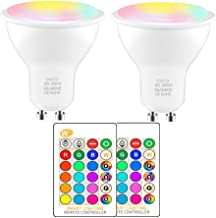 RGBW Color Changing Atmosphere Lighting, GU10 Base IR Remote Control Dimmable with Memory Function 40W Equivalent for Home...