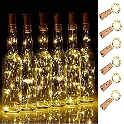 SFUN Wine Bottle Cork Lights - 6Pack LED Copper Wire Lights String 18 PCS Battary Extra Starry for Bottle DIY, Party, Decor, Christmas, Wedding or Mood Lights(Warm White)