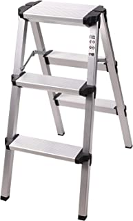 REDCAMP Aluminum Folding Step Ladder 3 Step, Sturdy Heavy Duty Step Ladder, Lightweight Portable Ladder Step Stool White