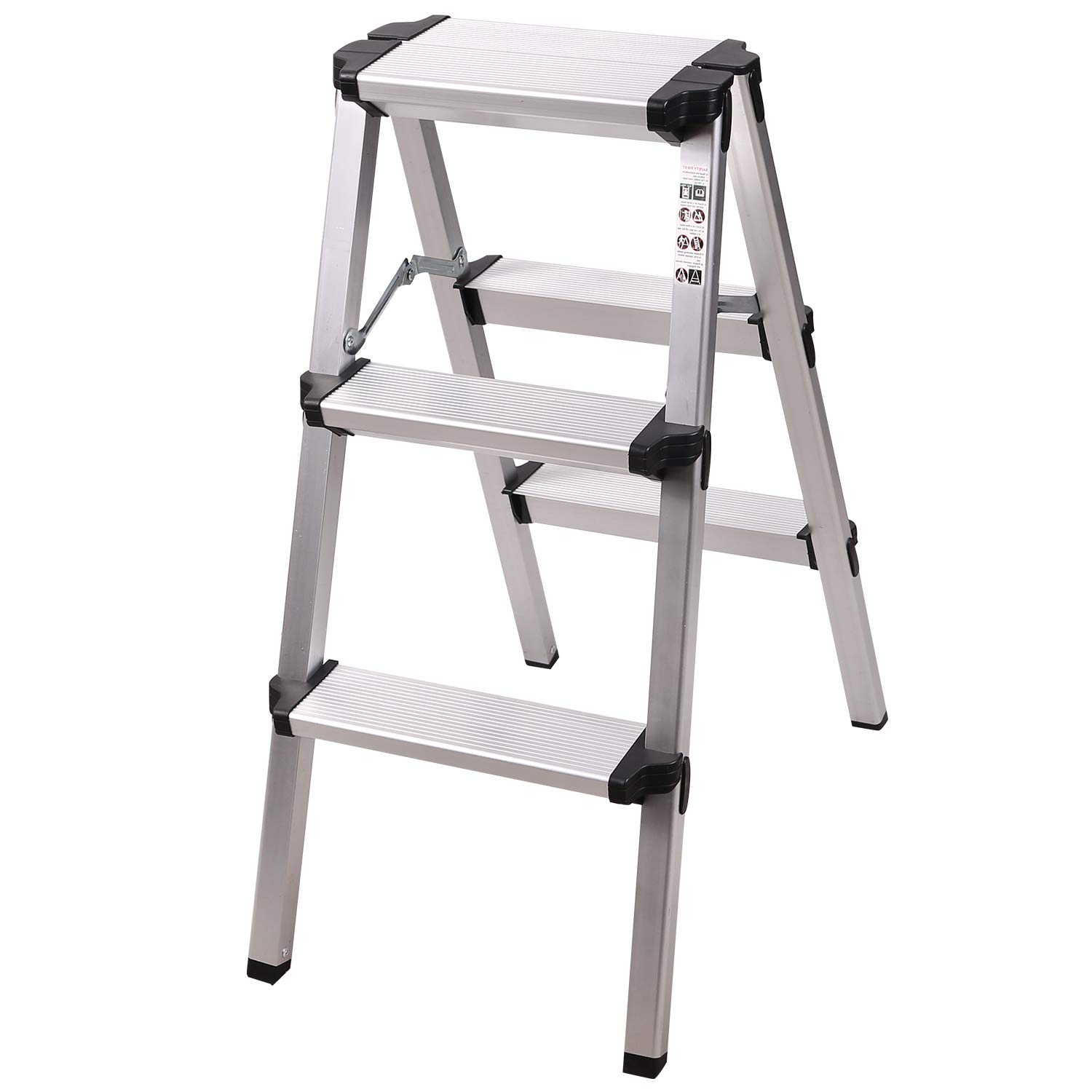 Redcamp Aluminum 3 Step Ladder Lightweight Folding Small Ladder Step Stool For Rv Kitchen Closet Supports 330lbs Capacity White 2 2 Feet Amazon Com