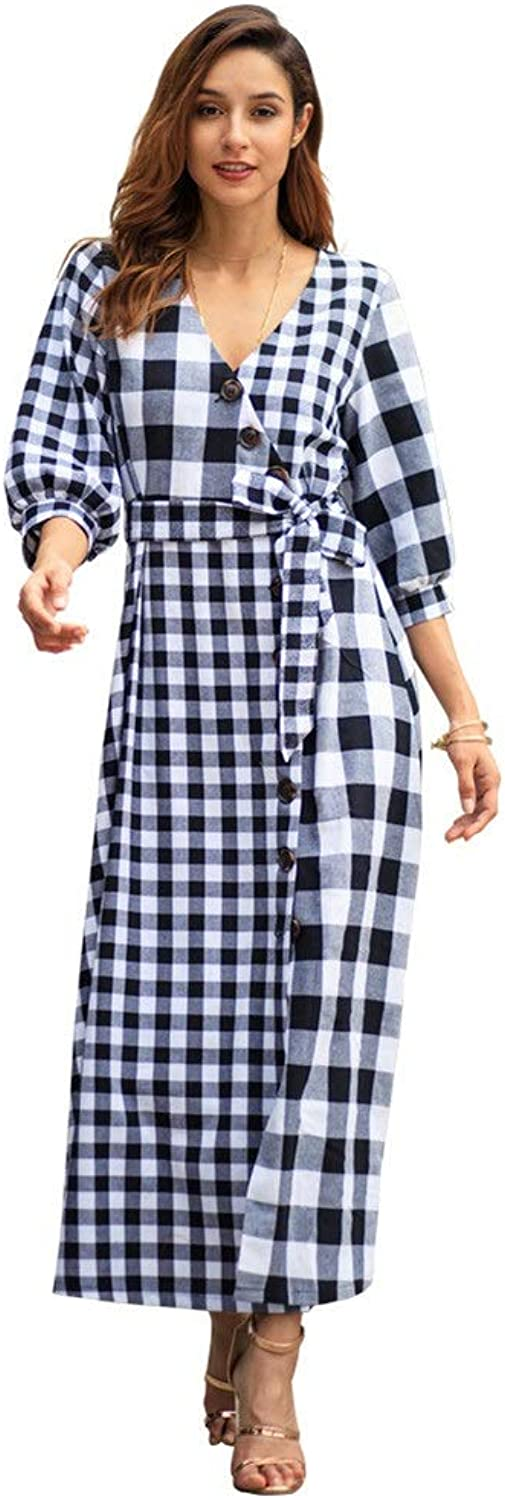 Women Plaid Print Deep V Neck 3 4 Sleeves Button Down Long Dress High Split Swing Midi Dress Boho Beach Sundress Cocktail Evening Party Dress with BeltParty Dress Cocktail Dress Cocktail Formal Dress