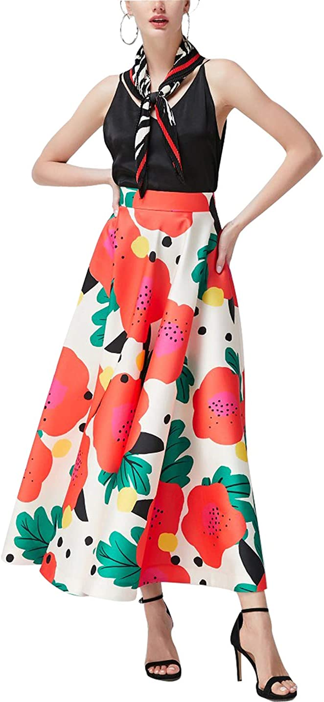 Avtosrno Womens Print A Swing High Waist Casual Long Skirt