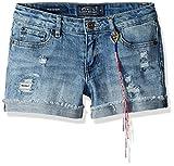 Lucky Brand Girls' Big 5-Pocket Cuffed Stretch Denim Shorts, Ronnie Ryder wash, 7