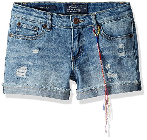 Lucky Brand Big Girls' 5-Pocket Cuffed Stretch Denim Short, Ronnie Ryder wash