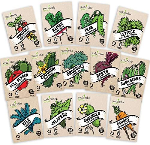Heirloom Vegetable Seeds Kit 13 Pack 100 Non GMO for Planting in Your Indoor or Outdoor Garden product image