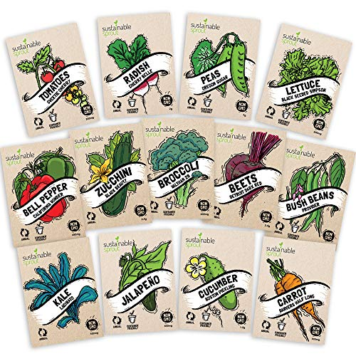 Heirloom Vegetable Seeds Kit 13 Pack – 100% Non GMO for Planting in Your Indoor or Outdoor Garden: Tomato, Peppers, Zucchini, Broccoli, Beet, Bean, Carrot, Kale, Cucumber, Pea, Radish, Lettuce