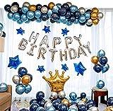 Ponmoo Fiesta de cumpleaños con globos de plata azul dorado, globos kit de cumpleaños aniversario para hombres mujeres adultos, Happy Birthday Corona Globo para cumpleaños de decoración