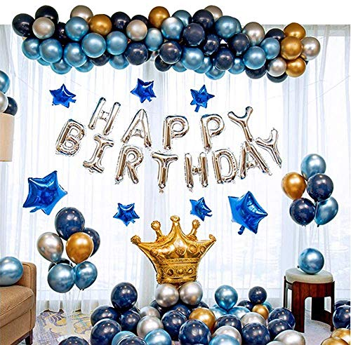 Ponmoo Fiesta de cumpleaños con globos de plata azul dorado, 124 piezas globos kit de cumpleaños aniversario para hombres mujeres adultos, Happy Birthday Corona Globo para cumpleaños de decoración