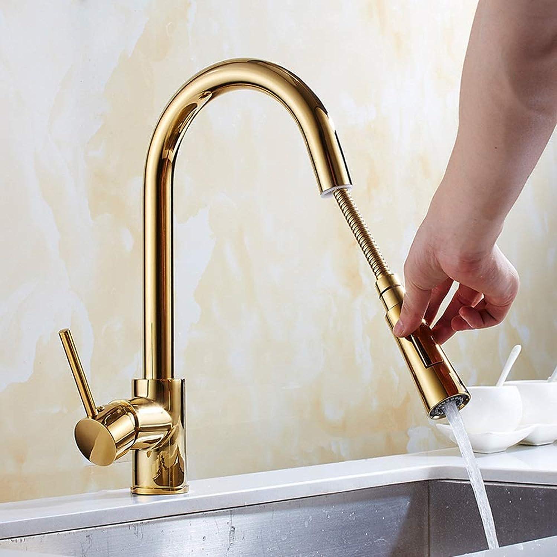 HYH High Arc Nickel Gebürstet Einzigen Griff Ausziehbare Küchenarmatur Spülbecken Wasserhahn Retro Gold Mit Pull-Down-Düse EIN schnes Leben