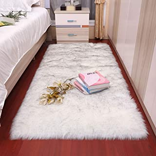 MQW Wolf-Like Hair White Carpet Square Plush Roundness Non-Slip, Floor MATS, Upholstery, Living Room Tea Table Bedroom Sofa Cushion Foot Cushion Soft and Comfortable (Size : 60180cm)