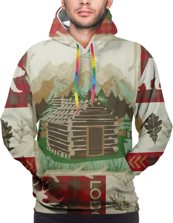 Hoodie For Teens Boys Girls Deer Bear Wooden House 3d Printed Hooded Sweatshirt