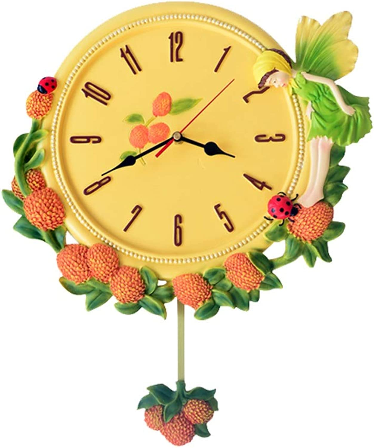 YONGMEI Wall Clock - Living Room Mute Swing Garden Bedroom Wall Charts Creative Personality Decorative Clock Table (color   Yellow, Size   45  38cm)