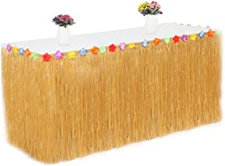 XSWEJC Table Skirt Hawaiian Stain Resistant Table Skirt for Party Decoration Outdoor Picnic Tableware Orange