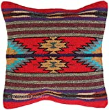 El Paso Designs Aztec Throw Pillow Cover, 18 X 18, Hand Woven in Southwest and Native American Styles (Aztec Mosaico)