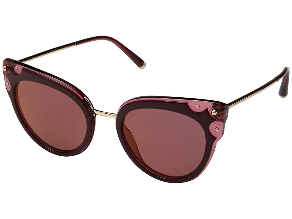 Dolce & Gabbana DG4340 (Top Bordeaux/Dark Pink Transparent/Dark Violet Mirror Red) Fashion Sunglasses