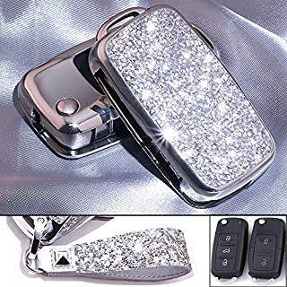 Royalfox(TM) 3 Buttons 3D Bling flip Folding Remote Key Fob case Cover for VW Volkswagen Jetta GTI Passat Golf Tiguan Touareg Beetle Multivan Sagitar Passat Accessories,with Keychain (Silver)