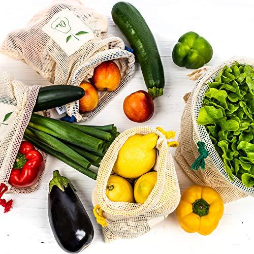 Set 4 sacchetti alimentari per frutta e verdura, borsa in cotone per la spesa ecologica e sostenibile, shopper vegan riutilizzabile e biodegradabile
