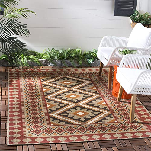 Safavieh Veranda Collection VER099-0334 Indoor/ Outdoor Red and Natural Southwestern Area Rug (5'3' x 7'7')