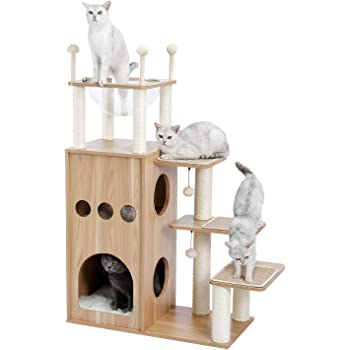 Made4Pets Cat Tree Modern Cat Tower Featuring with Fully Sisal Covering Scratching Posts, Deluxe Condos and Large Space Capsule Nest