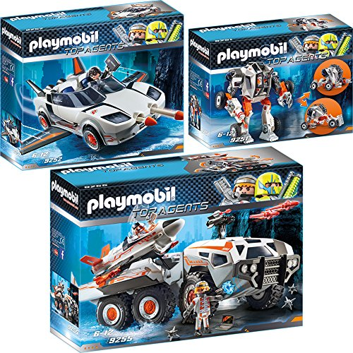 Playmobil Top Agents Set in 3 Parts 9251 9252 9255 Mech Transformable with Agent T + Spy Vehicle with Agent P + Spy Team Assault