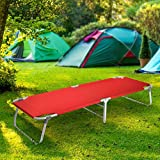 Magshion Portable Military Fold Up Camping Bed Cot with  Storage Bag, Red