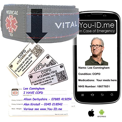 COPD Notfall-Armband, leicht, vollständig wasserdicht, funktioniert mit jedem Handy, Tablet oder PC und kann Ihre Kontakte per SMS benachrichtigen