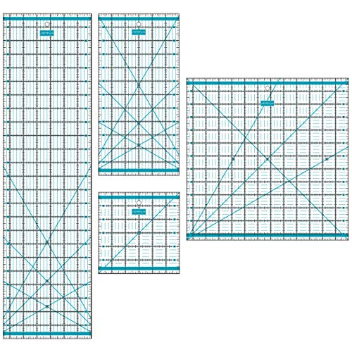 SEMPLIX Patchwork Lineal Set Inch (6x6 inch, 12x6 inch, 24x6,5 inch, 12,5x12,5 inch) (türkis)
