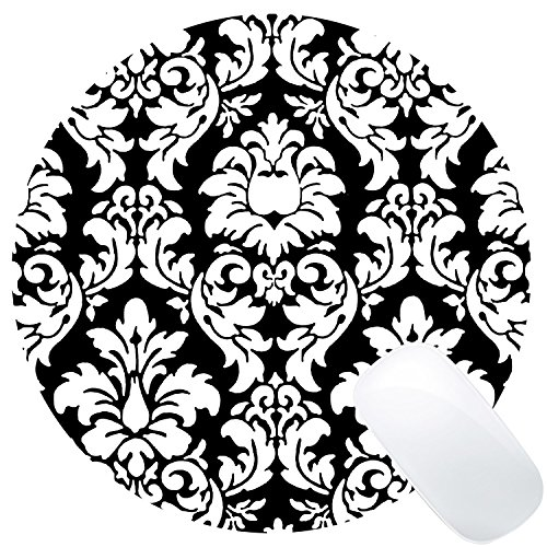Wknoon Round Mouse Pad Customized Design, Abstract Damask Black and White Art Circular Mouse Pads