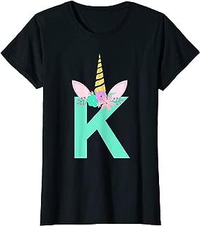 Kawaii Unicorn Monogram Initial K Gift Shirt for Teen Girls