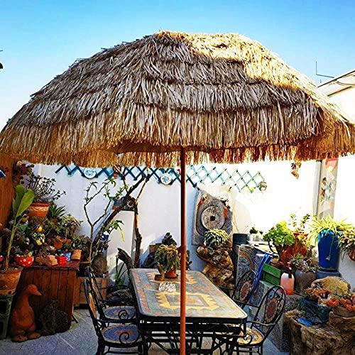 Outech Sombrilla Redonda Tiki Imitando Paja, Parasol Tropical Hawaiana para Mesa de Mercado de Paja, para Piscina de Césped, Patio Trasero, Sombrilla de Jardín, con Mecanismo de Inclinación, Sin Base