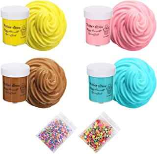 TIME4DEALS 4-Color Scented Fluffy Butter Slime with Fruit Slices Chocolate Stick,Non-Sticky Slimes Kit Stress Relief Toy for Adults,Event Party Gift DIY Projects for Kids(16.24oz)