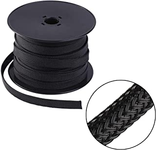 Keco 100ft – 1/2 inch Flexo PET Expandable Braided Cable Sleeve – Wire Sleeving For Audio Video and Other Home Device Cable Automotive Wire - Black