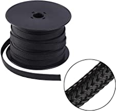 Keco 100ft – 3/8 inch Flexo PET Expandable Braided Cable Sleeve – Wire Sleeving For Audio Video and Other Home Device Cable Automotive Wire - Black