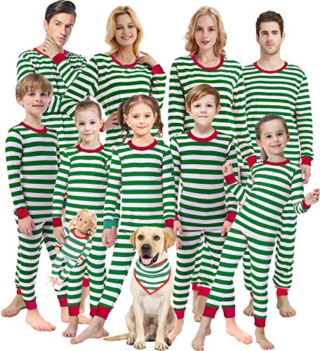 Matching Family Pajamas Christmas Boys Girls Green Striped Jammies Baby Clothes Sleepwear Kids 6t