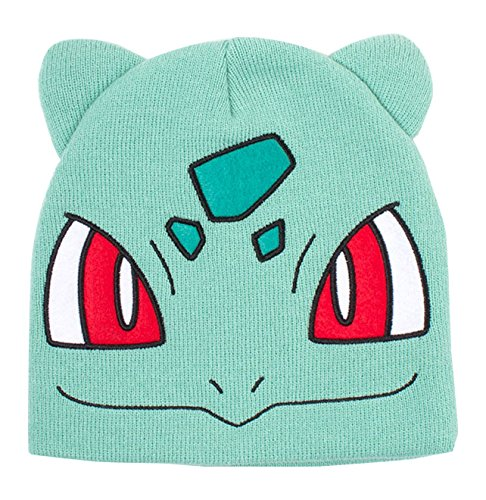 Meroncourt Pokemon Bulbasaur Big Face Cuffless Beanie with Ears, One Size, Turquoise (Kc130924Pok) Gorro de Punto, Turquesa, Talla única Unisex Adulto