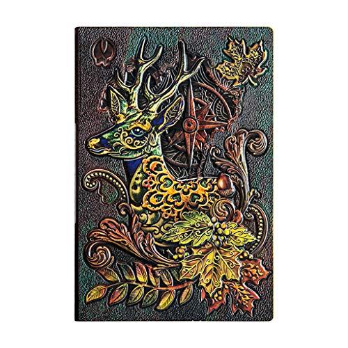 JIUYECAO Cuaderno retro 3 dimensionales en relieve, color alce 3D de cuero en relieve cubierta dura diario vintage planificador bloc de notas