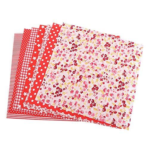 7pcs 50 * 50cm Patchwork Tela de algodón Cuadrados Surtidos Kit de Ropa de Cama precortada Cuartos Paquete de Hojas de Tela Artesanal con Material de patrón de Flores(Serie roja)