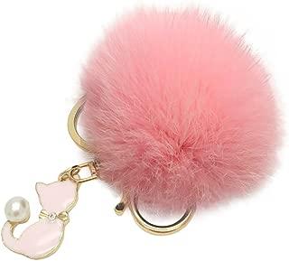 Cute Cat Faux Pearl Plush Ball Keychain Car Keyring Bag Charm Pendant Gift