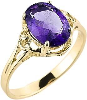 Elegant 14k Yellow Gold February Birthstone Genuine Amethyst Gemstone Ring