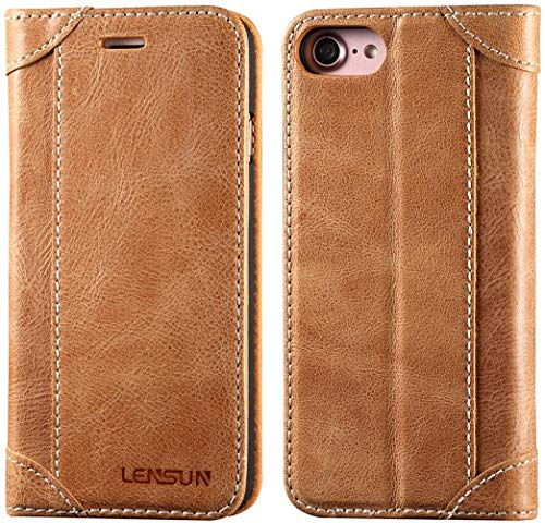 Lensun Cover iPhone SE 2020, Cover iPhone 7 / iPhone 8, Vera Pelle Cuoio Custodia Genuino Annata a Portafoglio Flip con Coperchio Frontale Magnetica per iPhone 7 e iPhone 8 4.7' – Marrone (7G-DX-BN)