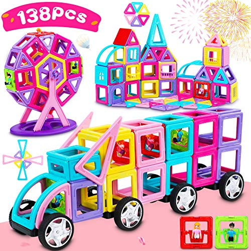 Dookey 138 PCS Bloques Magnéticos 3D, Bloques Magneticos Magneticos, Juguetes Construcciones Magneticas para Niños, Juguete Educativo y Creativo para Niños Adultos Regalo de Cumpleaños y Fiestas