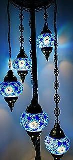 Earthed Lampadaire sur pied en verre fait à la main Style Tiffany turc marocain Ampoules incluses (5 globes multicolores)...